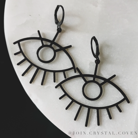 The Third Eye Earrings in Black