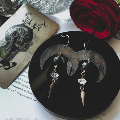 Herkimer and Shungite Moon Earrings