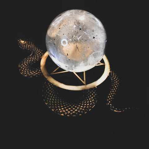 Snake and Pentacle Crystal Ball Stand