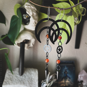 Carnelian Moon and Pentacle Earrings