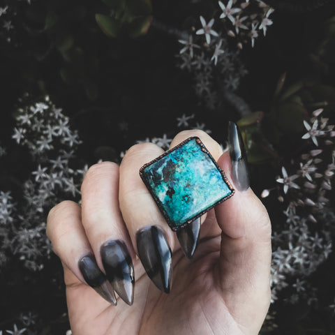 Earth Energy Chrysocolla Ring - Size 7