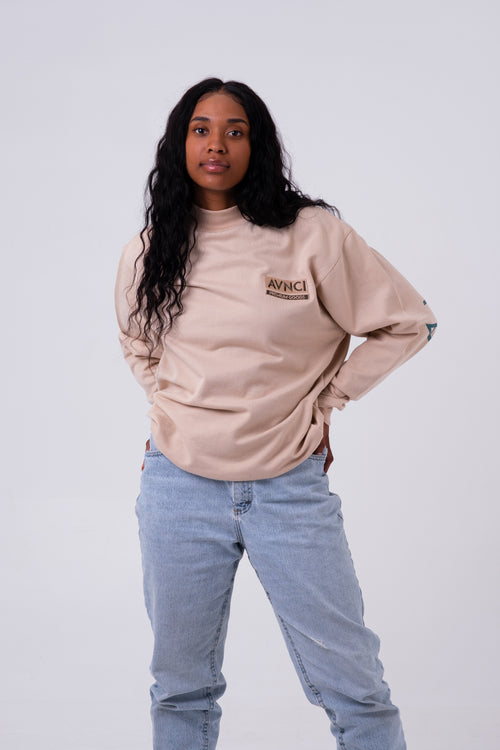 AVNCI Mock-neck Embroidered Sweater