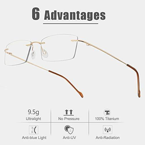 Cyxus Blue Light Blocking Computer Glasses [Better Sleep] Anti Digital Eye Strain Headache Video Eyewear (Blue Browline Frame)