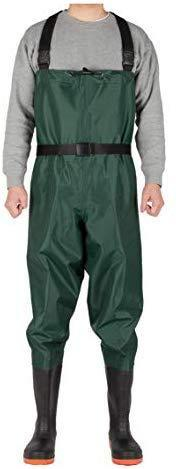 CKd G1 Bootfoot Chest Wader, Nylon & PVC Double Layers, Fishing & Hunting Waterproof Coating Fabric, Cleated Outsole with Steel Plate, High Elasticity Suspender with Buckles, Unisex