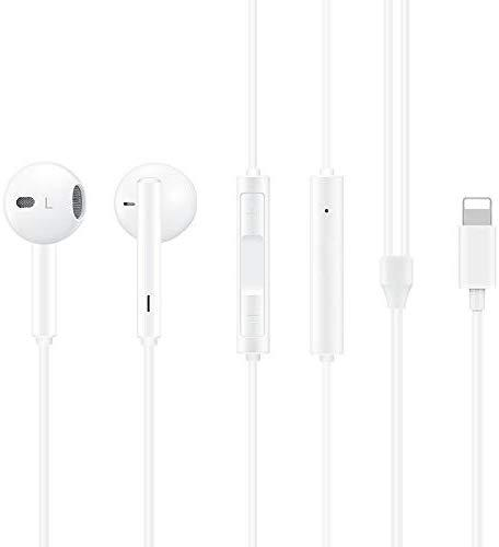 MUXITEK Earphones Headphone with Microphone and Volume Control, Compatible with iPhone 11/11Pro/11Pro Max/Xs/XS Max/XR/X/8/8 Plus/7 and iOS 10/11/12 (White)