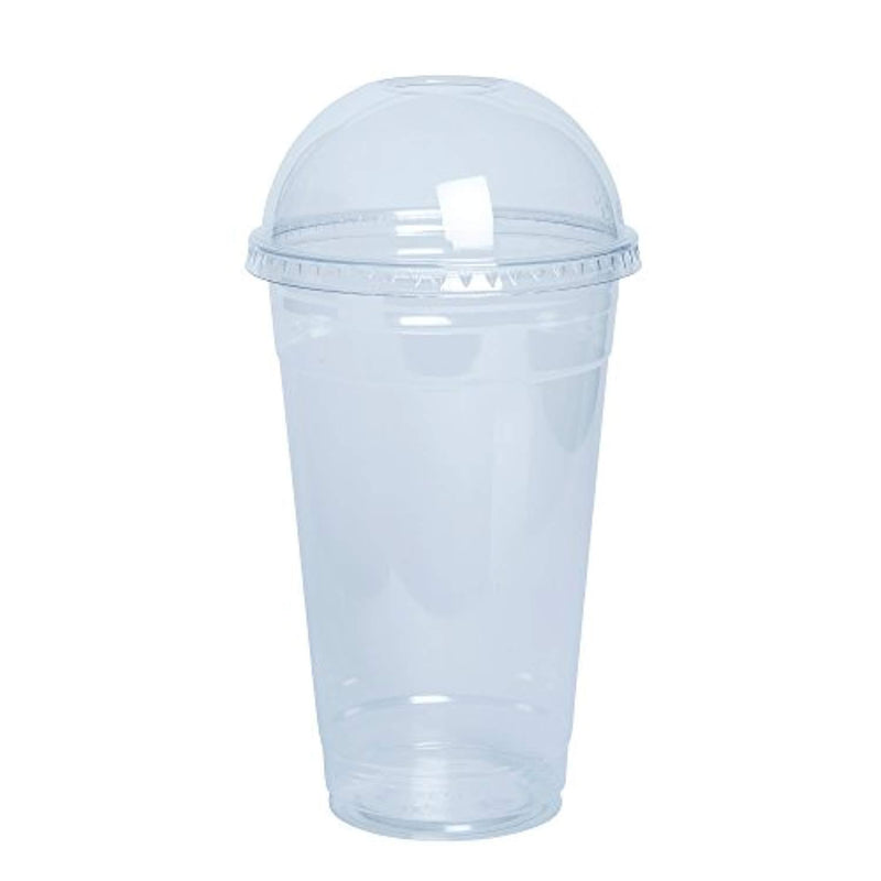 [100 Sets - 24 oz.] Crystal Clear Plastic Cups With Dome Lids by Comfy Package