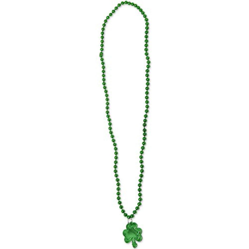 24 St Patricks Day Necklaces with Shamrock Medallion St Patricks Day Party Favors St. Patrick's Green Necklace Accessories