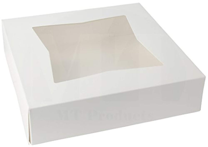 9 inch Length x 9 inch Width x 2 1/2 inch Height White Kraft Paperboard Auto-Popup Window Pie/Bakery Box by MT Products (Pack of 15)