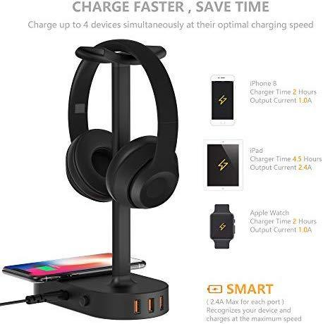 Headphone Stand with USB Charger COZOO Desktop Gaming Headset Holder Hanger with 3 USB Charger and 2 Outlets - Suitable for Gaming, DJ, Wireless Earphone Display (Black)