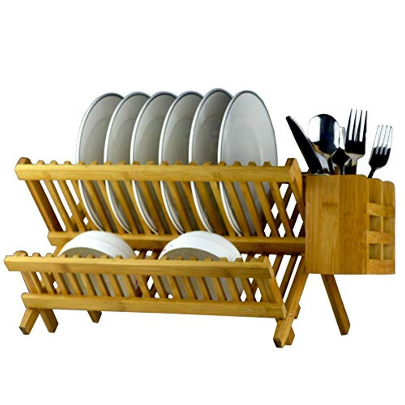 Bamboo Dish Rack 2-Tier Collapsible Drainer Folding Wooden Dish Drying rack with Utensils Flatware Holder set Home Cabinet, 18 Slots