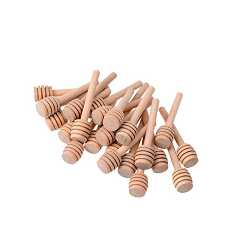 3 Inch mini wooden honey dipper sticks,honey Jar dispense drizzle honey and wedding party favors.(Pack of 65)