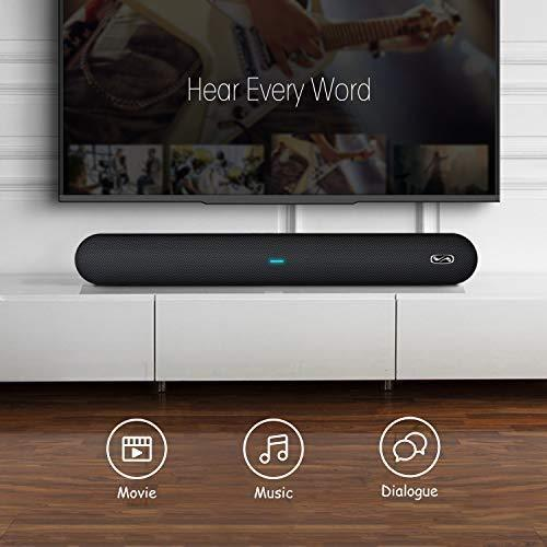 Soundbar, MEGACRA 80 Watts TV Sound Bar Home Theater Speaker with Dual Connection Way, Bluetooth 5.0, Movie/Music/Dialogue Audio Mode, Enhanced Bass Technology, Bass Adjustable, Wall Mountable
