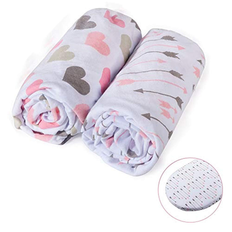 Momcozy Universal Bassinet Sheets Set 2 Pack for Girls, Soft & Breathable 100% Cotton, Fitted Elastic Design, Pink Heart & Arrows, Fits Oval Halo, Chicco Lullago, Arms Reach, Ingenuity