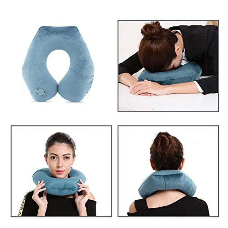 BestMaxs Travel Airplanes with Washable Pillowcase Mouth Blowing Inflatable Neck Pillow-Deep Gray