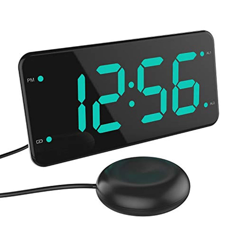 Digital Alarm Clock with Bed Shaker, Extra Loud Alarm, 7-inch Large Display, USB Charger, Full Range Dimmer, USB Night Light – Eye Protection Green by LIELONGREN