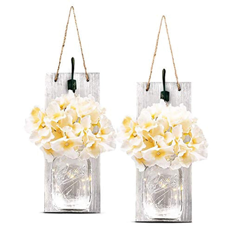 TEEHOME Rustic Hanging Mason Jar Sconces with LED Fairy Lights, Vintage Wrought Iron Hooks, Silk Hydrangea Flower LED Strip Lights Design Home Kitchen Decoration Set of 2