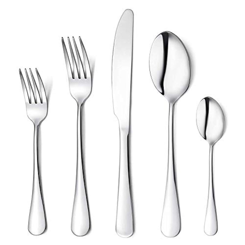 Flatware Set, 20-piece Silverware Cutlery Set with Serving Pieces, Heavy-duty Stainless Steel Utensils, Include Knife/Fork/Spoon, Mirror Finish, Dishwasher Safe, Service for 4 (Silver)