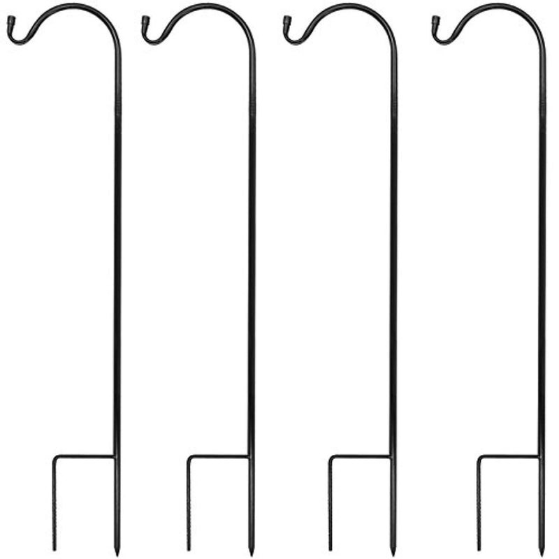 Sorbus® Shepherd's Hooks - Set of 4 Extendable Garden Planter Stakes for Bird Feeders, Outdoor Décor, Plants, Lights, Lanterns, Flower Baskets, and More! Heavy Duty (4 Pack)