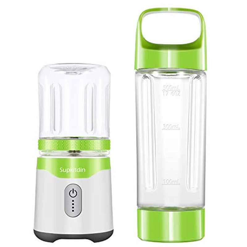 Supkitdin Personal Portable Blender for Shakes and Smoothies,with 2 FDA Approved Cups, Rechargeable, Powerful 6 Blades for Superb Mixing(Green) Green Green
