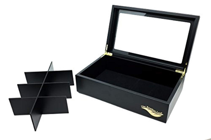 The Bamboo Leaf Wooden Tea Storage Chest Box with 8 Compartments and Glass Window (Black)