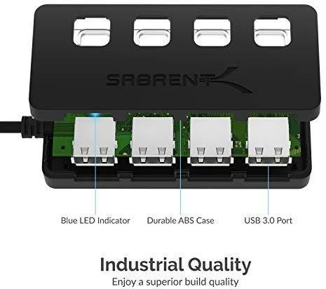 Sabrent 4-Port USB 3.0 Hub with Individual LED Power Switches (HB-UM43)