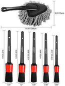 Manfiter Detailing Brush Set, Car Duster, Auto Detail Brush Set with Car Dash Duster Brush for Car Motorcycle Automotive Cleaning Wheels, Dashboard, Interior, Exterior, Leather, Air Vents
