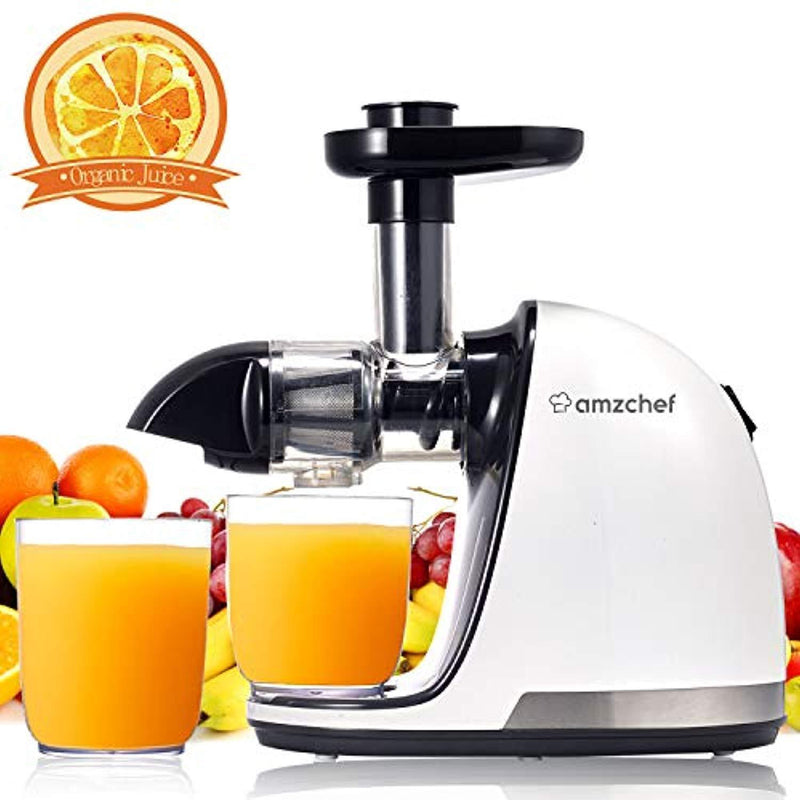 AMZCHEF Juicer, Slow Juicer Extractor Professional Machine with Quiet Motor/Reverse Function/Easy to Clean with Brush for Fruit & Vegetable Juice