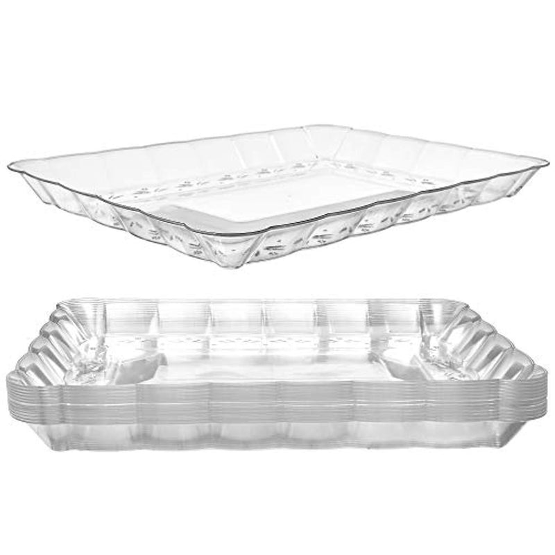 "Plastic Serving Trays – Serving Platters | 12 Pack, 9""X13"" 