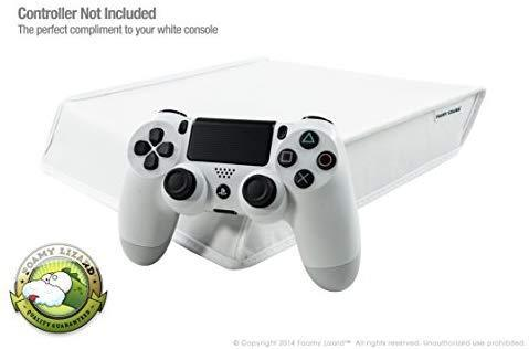 Playstation 4 Dust Cover by Foamy Lizard – LIMITED EDITION ARCTIC WHITE THE ORIGINAL MADE IN U.S.A. TexoShield (TM) premium soft lined LEATHERETTE PS4 dust guard w/back cable port (Horizontal, White)