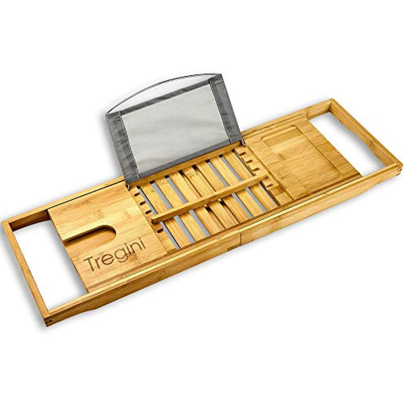 Tregini Luxury Bathtub Caddy - Extendable Bamboo Wood Bath Tray with Adjustable Book, iPad or Kindle Reading Rack - Wine Glass Holder - Cellphone or Tablet Slot