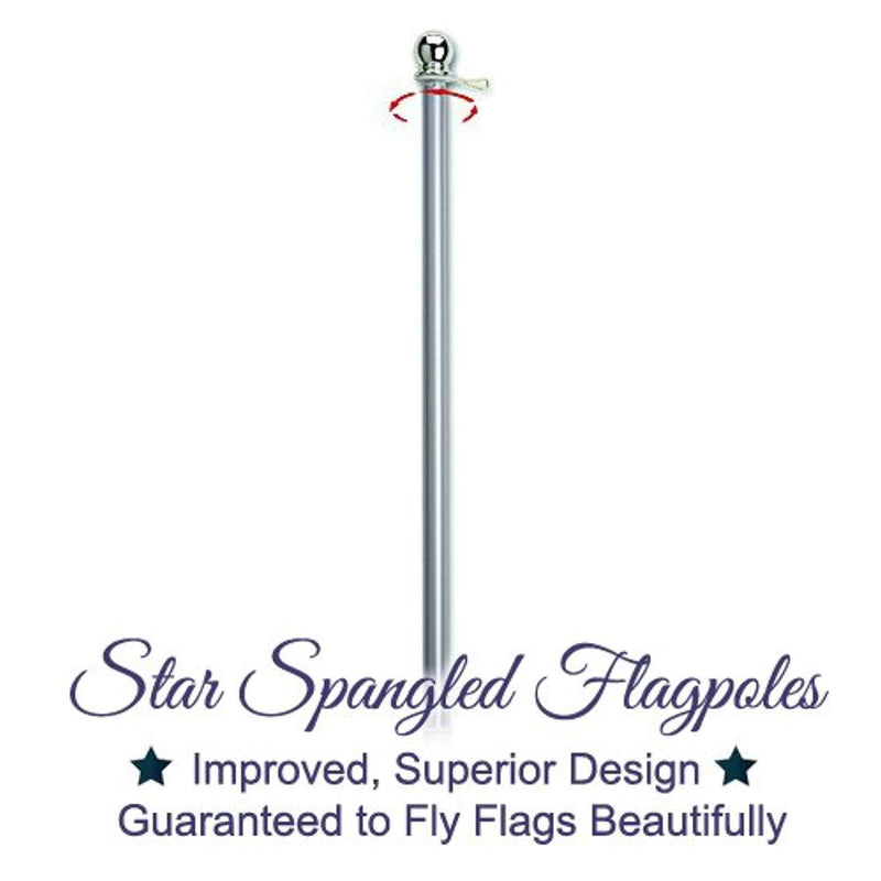 Flag Pole - 6 Foot Silver Brushed Aluminum No Tangle Spinning Flagpole with Silver Globe Built Tough and Beautiful to Fly Grommeted or Sleeve Flags Proudly in Residential House or Commercial Settings