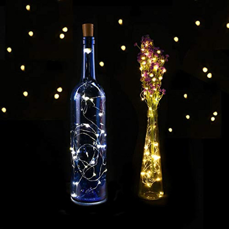 LEDIKON 20 Pack 20 Led Wine Bottle Lights with Cork,3.3Ft Silver Wire Warm White Cork Lights Battery Operated Fairy Mini String Lights for Wedding Party Wine Liquor Bottles Crafts Christmas Decor