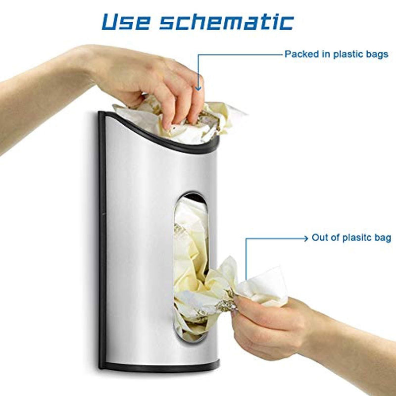 Malmo 1 x Stainless Steel Wall Mount Grocery Bag Dispenser, Anti-Fingerprints