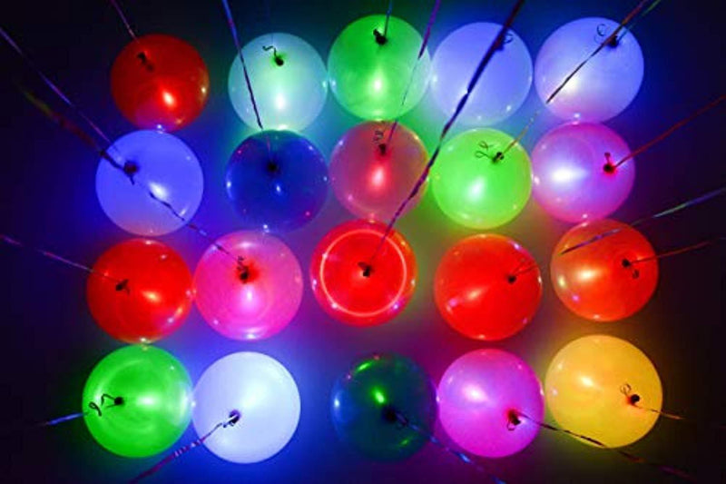 Dusico Flashing LED Light Up Party Balloons (30 Pack), Rainbow Glow in The Dark Neon Lights Assorted Colors Changing, for Helium Or Air Use, Strong Latex, 12 Inches, Lasts 12-24 Hours