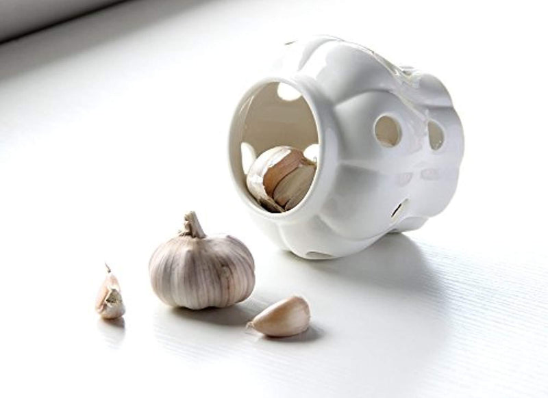 White Stoneware Garlic Keeper with Bamboo Lid and 12 Air Vent