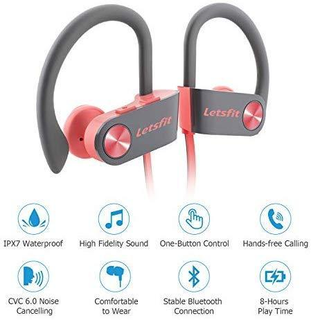 Bluetooth Headphones, Letsfit Wireless Headphones, IPX7 Waterproof Sports Earphones Gym Running, HD Stereo Headset w/Mic, 8 Hours Battery Noise Cancelling Bluetooth Earbuds