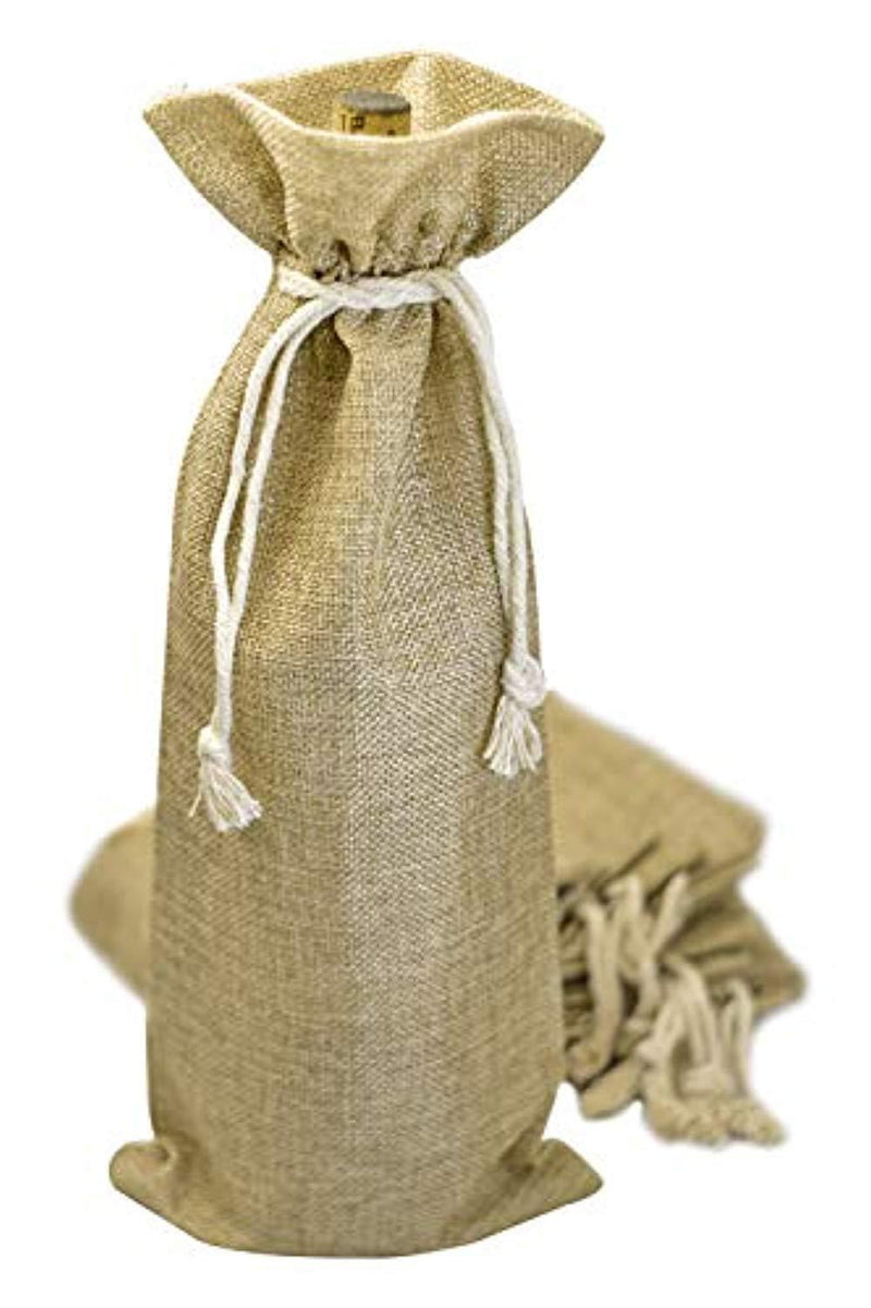 Burlap Wine Bag - 12 Wine Bottle Gift Bags for Wedding, Party Favors, Christmas, Holiday and Wine Tasting Party Supplies