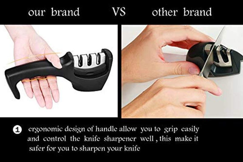 Professional Kitchen Knife Sharpener,3-Stage Knife Sharpening Tool to Sharpen, Repair and Polish,Suitable for Various Knives