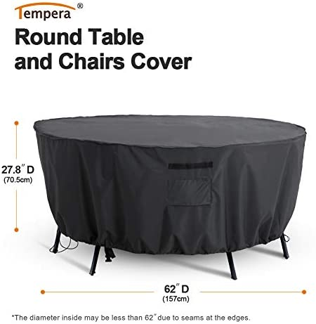 FLYMEI Patio Furniture Cover, Waterproof Tear-Resistant UV and Fade Resistant Outdoor Round Table Dining Set Cover, Space Grey, 62 inches Diameter