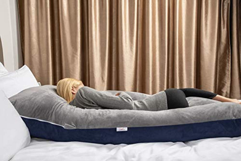 QUEEN ROSE Unique Full Body Pregnancy Pillow with Total Body Support,Removable Cover,Blue and Gray by Unknown