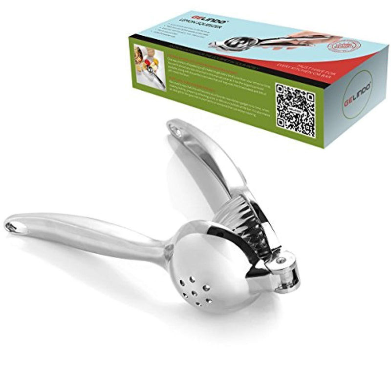 Gelindo Single Press Lemon Squeezer - Heavy Duty - Easy To Use - Large Bowl, Silver
