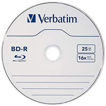 Verbatim BD-R 25GB 16X Blu-ray Recordable Media Disc - 10 Pack Spindle - 97238
