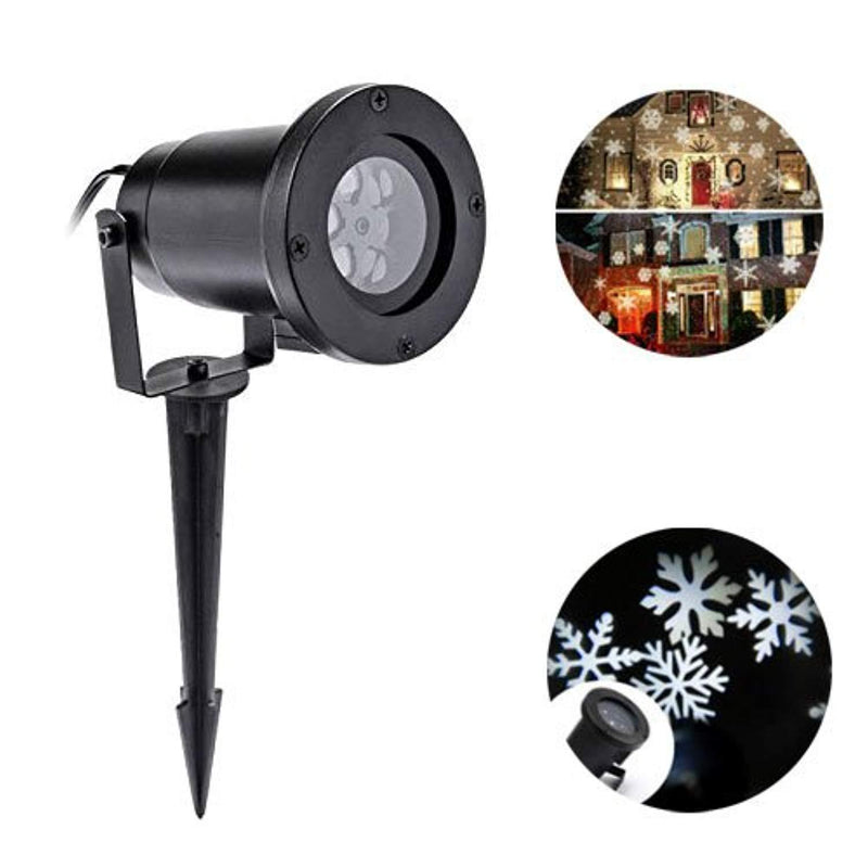 Christmas Projector Light White Snowflake Waterproof Motion Projector Snowflake Spotlight LED Light for Patio, Lawn, Garden Holiday Party