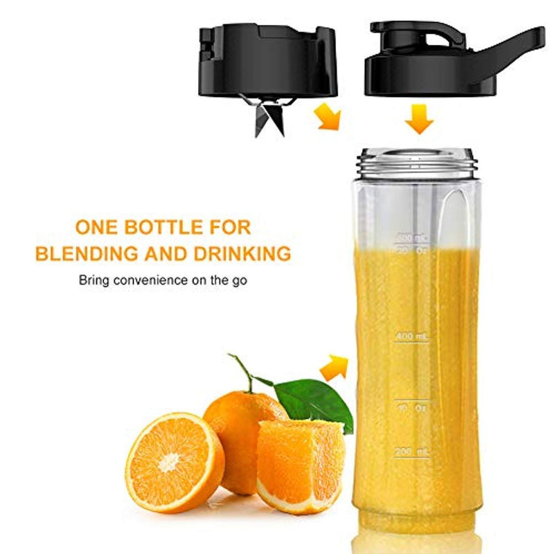 Personal Blender for Shakes and Smoothies - Powerful Drink Mixer with 20 Oz To Go Bottle, Single Use Juicer with Easy One Touch Operation, Great for Sports, Travel, Gym and Office (with Silicone Ice Cube Tray & Bottle