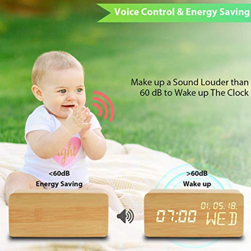 Luckymore Alarm Clock,Wood Alarm Clock Digital Clock LED Small Desk Clock Voice Command Beside Wooden Clock Modern Decoration Mini Alarm Clocks 3 Alarms 3 Level Brightness Show Time Date Week