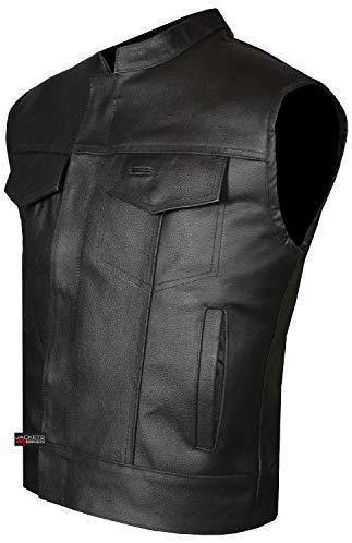SOA Men's Leather Vest Anarchy Motorcycle Biker Club Concealed Carry Outlaws S