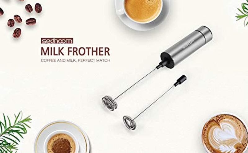 Sedhoom Handheld Battery Operated Double Powerful Electric Milk Frother with Additional Single Spring Whisk Head