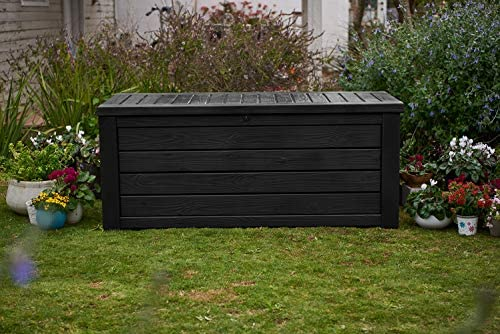 Keter Westwood 150 Gallon Resin Large Deck Box - Organization and Storage for Patio Furniture, Outdoor Cushions, Garden Tools and Pool Toys, Dark Grey