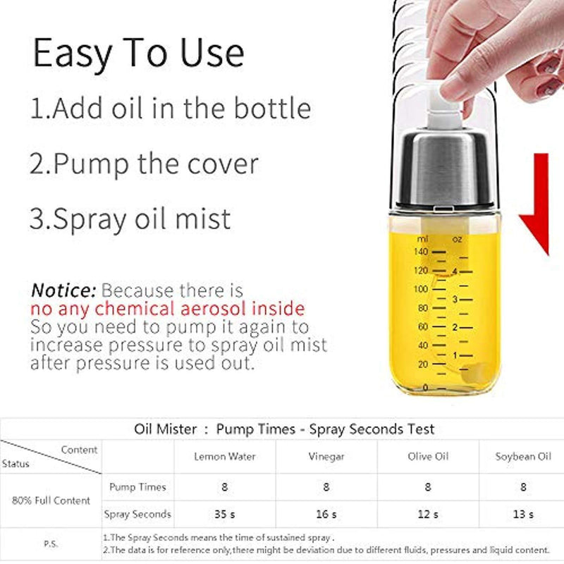 Premium Olive Oil Sprayer Mister for Kitchen Cooking Spritzer, Atomizer with Pump and Filter,Clog Free Non aerosol Vinegar BBQ Evo Oil Sprayer Bottle -Stainless Steel Glass (Oil Sprayer With Brush)