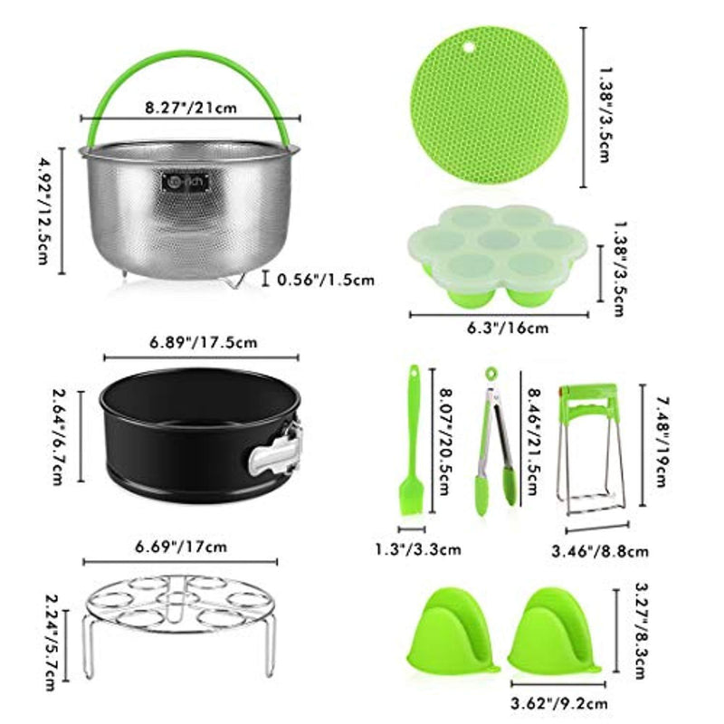 Pressure Cooker Accessories, Fit IP Insta Pot Instapot 6, 8 Quart - Stainless Steel Steamer Basket/Springform Cake Pan/Egg Rack/Silicone Pot Holder - 10 Pcs Accessory Set Compatible with Instant Pot by Te-Rich